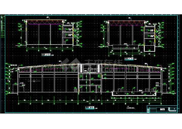 体育馆建筑设计及施工全套CAD平面图-图1