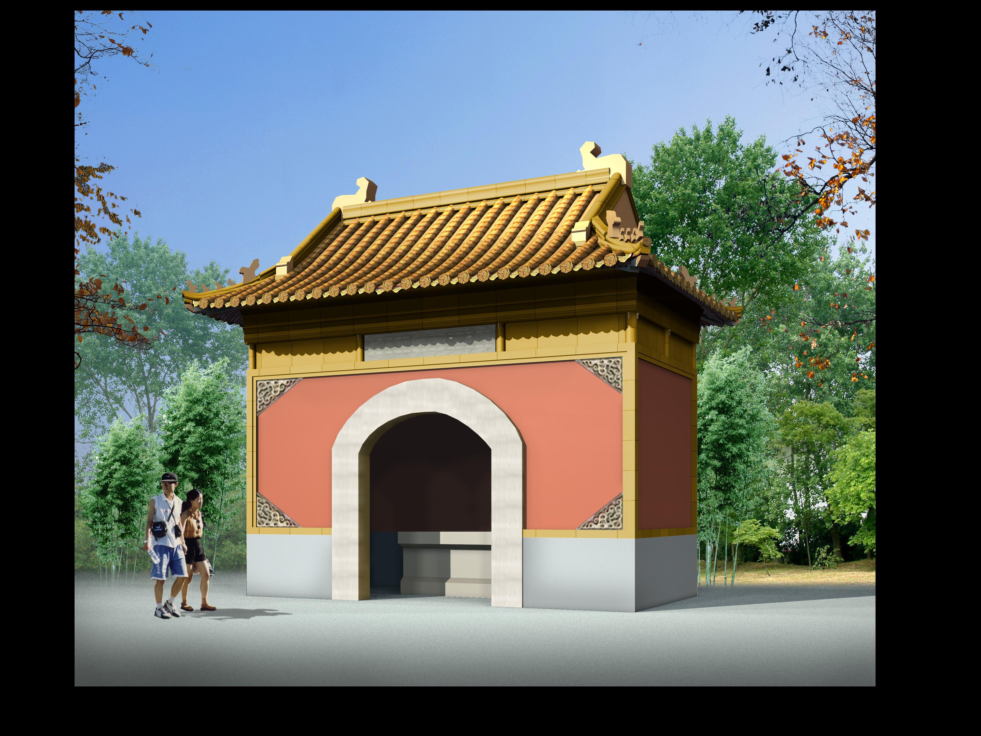 某地小型公园古建筑方案设计图(实景图)图片3