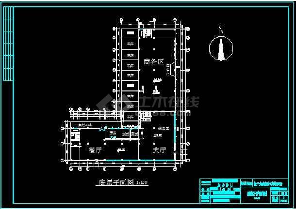 一套简单实用的某宾馆建筑工程施工图纸-图2