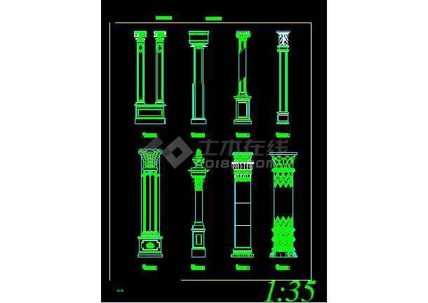 非常齐全的13个柱装饰建筑详细图纸-图2