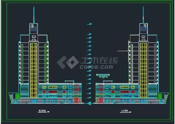 东城某假日广场建筑剖面cad设计图纸-图3