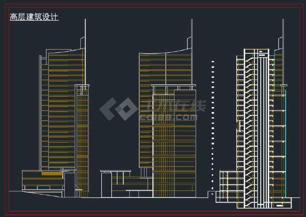 高层办公综合楼建筑工程设计方案图纸-图3