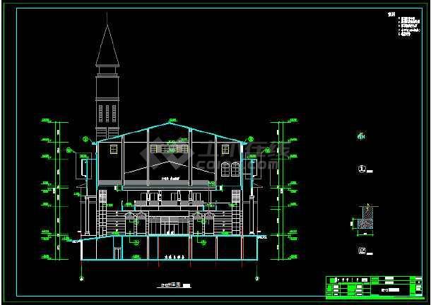 某地一套详细的社区中心建筑施工图纸-图3