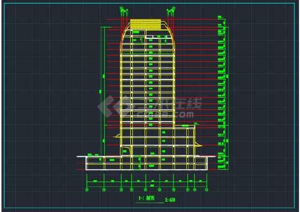 海南高级写字楼建筑设计CAD平面图-图2
