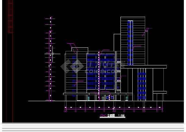 青岛火车站店建筑施工全套CAD平面图纸-图1
