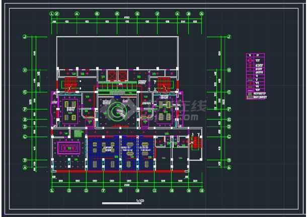 东北地区酒楼办公大厦建筑工程CAD施工图-图2