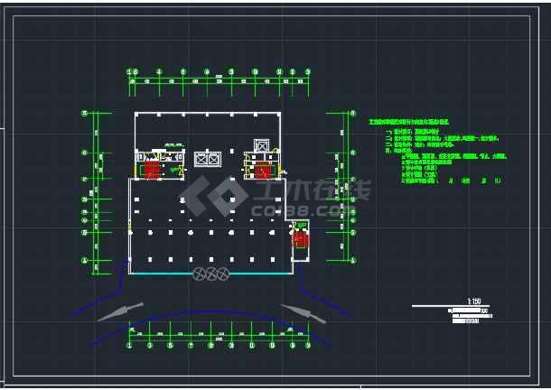 东北地区酒楼办公大厦建筑工程CAD施工图-图3