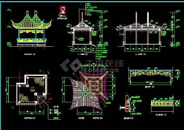 【2017最新整理】较为齐全的古建亭子建筑施工图-图1