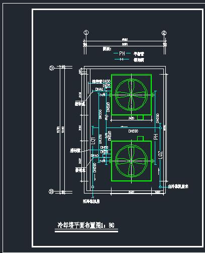 某大型冷却塔全套基础平面布置CAD图图片2