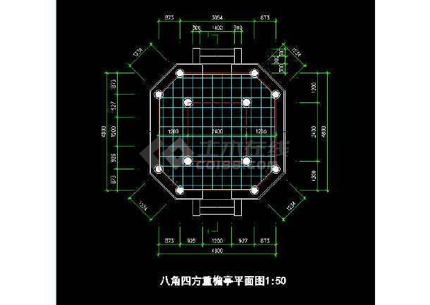 某地小型八角四方重檐亭建筑施工图(全套)-图2
