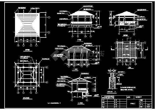 某地小型木亭廊花架建筑设计图(标注详细)-图1