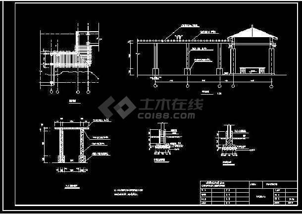 某地小型木亭廊花架建筑设计图(标注详细)-图2