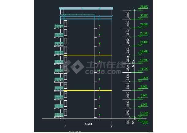 某地区某安置小高层建筑设计CAD施工平立剖面图-图2