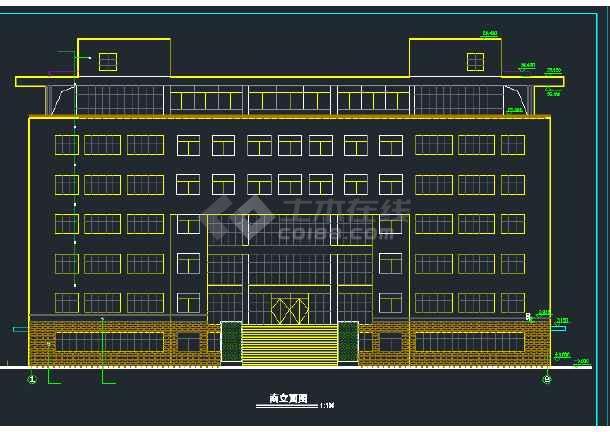 某地区七层行政办公楼建筑设计CAD施工图-图1