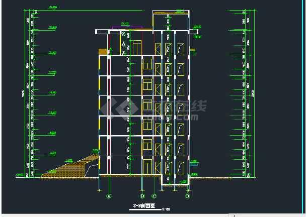 某地区七层行政办公楼建筑设计CAD施工图-图2