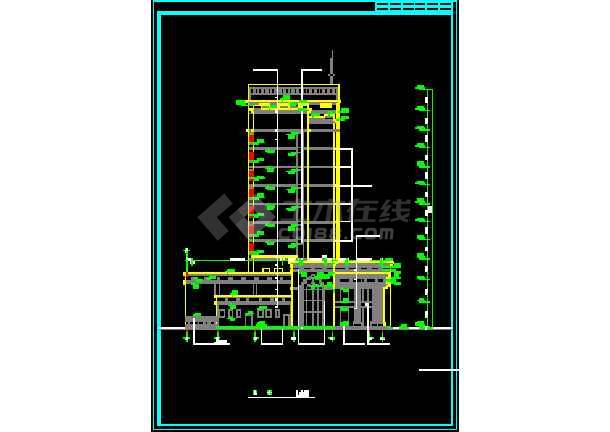 某地传统银行办公大楼建筑图(图纸齐全)-图2
