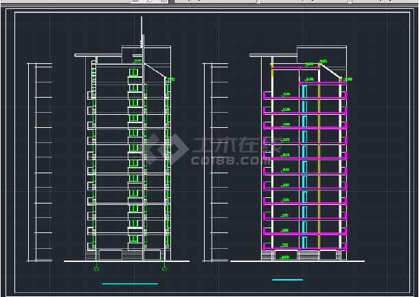 南京某地区小高层住宅建筑设计CAD施工方案图-图2