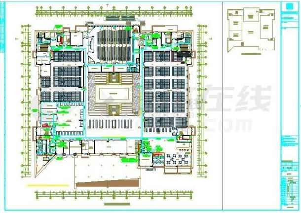 某地图书馆电气施工图纸(标注详细)-图1