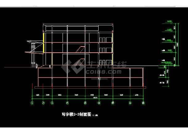 高层写字楼全套建筑施工CAD设计图纸-图1