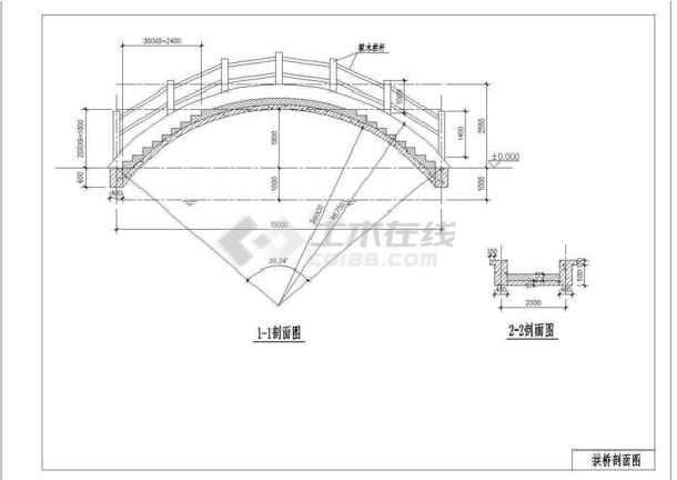 某地拱桥施工建筑设计大样详图(共3张)-图2