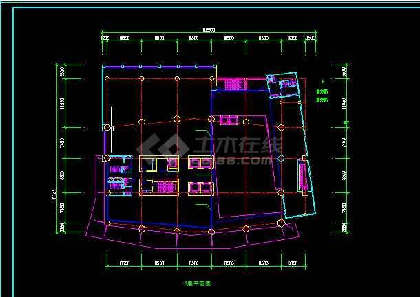 酒店办公楼建筑施工CAD设计图纸-图2