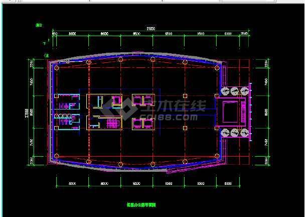 酒店办公楼建筑施工CAD设计图纸-图3