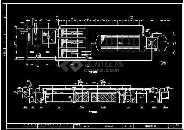 地埋式污水处理工艺流程CAD图-图1