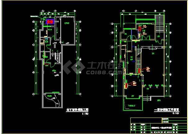 某市高端DF户型别墅空调施工平面图-图3