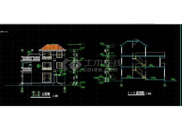 别墅F型建筑设计方案全套CAD图纸-图1