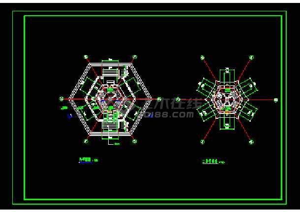 五层仿古代景观塔设计施工cad图纸-图2