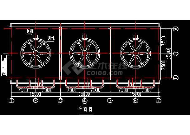 9.3000x3t、h玻璃钢冷却塔及盐酸泡沫塔全套cad设计施工图-图2
