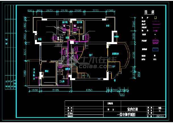 某市住宅户型中央空调cad设计平面施工方案图-图1