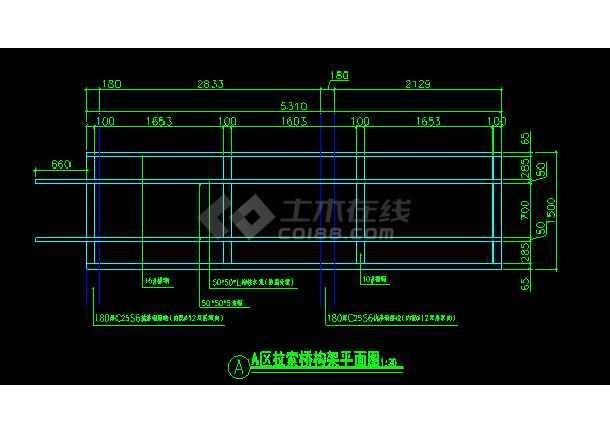 某地拉索木桥cad施工详细设计图-图3