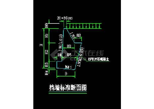 道路建设挡土墙标准cad施工图纸-图3