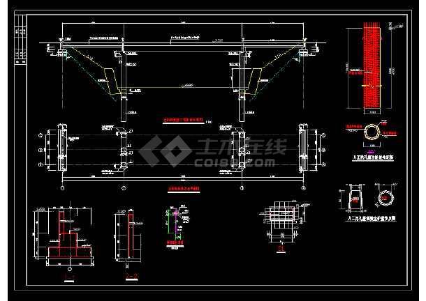 某地区过街天桥cad道路设计详细施工图纸-图2