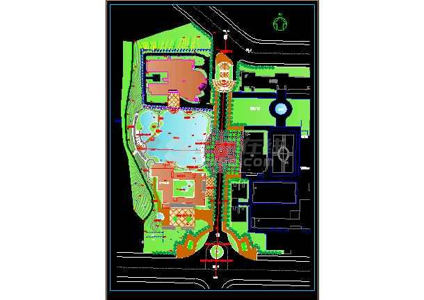 某专科学校建筑施工设计CAD景观规划图-图1