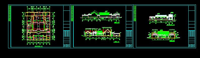 长26.2米 宽21.3米 农村一层小型四合院(一层平面图、2个立面图、2个剖面图 1JPG外观效果)图片1