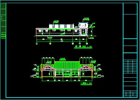 长26.2米 宽21.3米 农村一层小型四合院(一层平面图、2个立面图、2个剖面图 1JPG外观效果)图片3