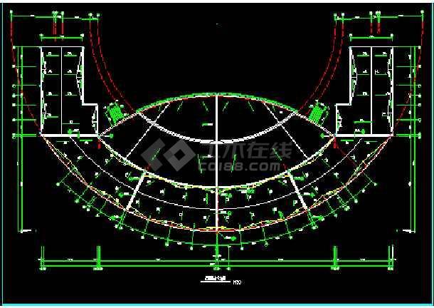 某广场舞台及网点建筑CAD施工设计图纸-图1