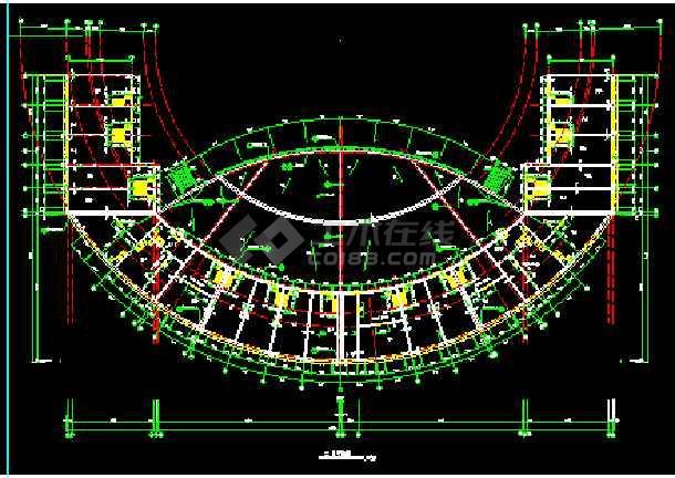 某广场舞台及网点建筑CAD施工设计图纸-图2
