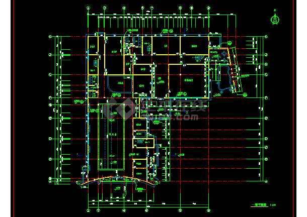 某文化娱乐建筑CAD设计施工平面图纸-图3