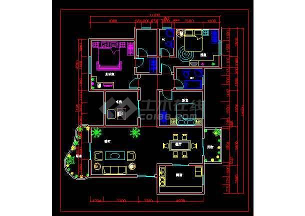 壹层别墅室内装修cAd平面布置施工图-图1