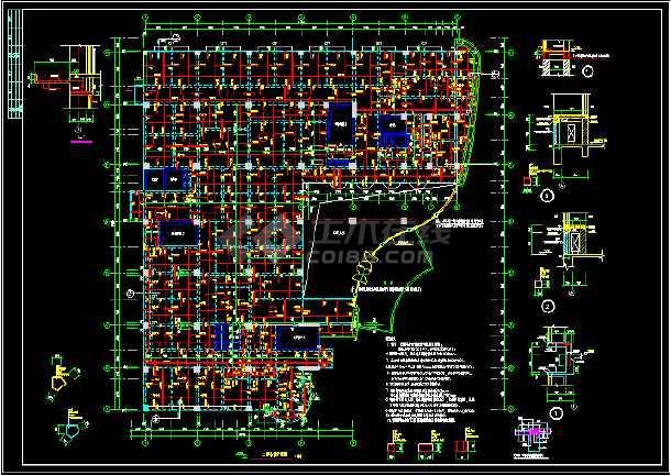 医院肿瘤病房大楼主体结构CAD方案设计施工图-图1