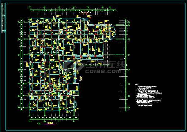 医院肿瘤病房大楼主体结构CAD方案设计施工图-图2