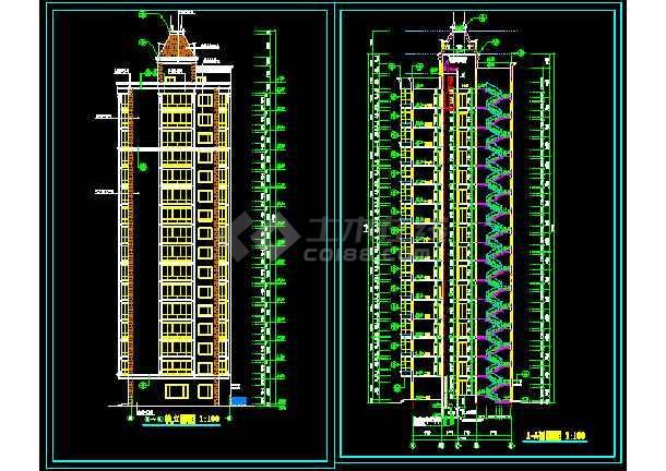 某地十六层高层商务楼cad施工设计图-图2