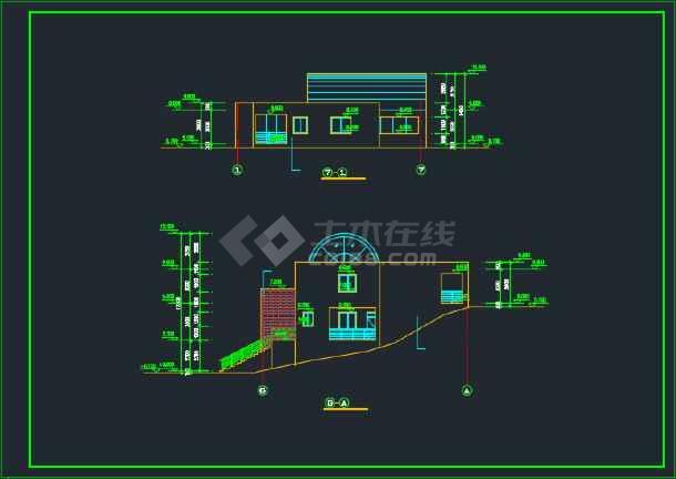 室内带游泳池的别墅建筑CAD施工图-图2