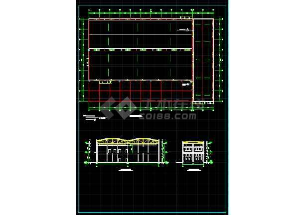 一套5609平米木工厂房建筑设计图纸-图3