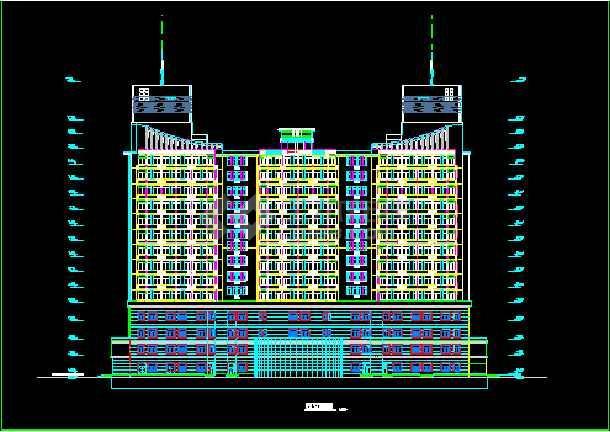 某假日广场建筑CAD施工设计平立面图纸-图2