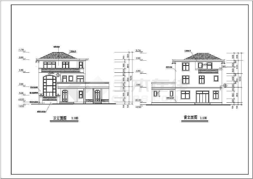 某地新小户型别墅建筑CAD全套图(共7张)-图1