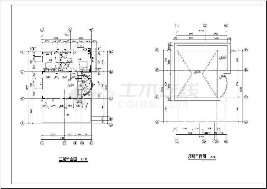 某地新小户型别墅建筑CAD全套图(共7张)-图3